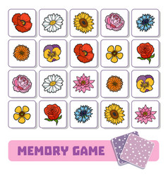 memory game for children cards with flowers vector image