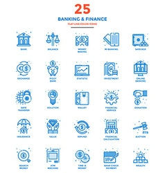 Modern Flat Line Color Icons Banking and Finance vector