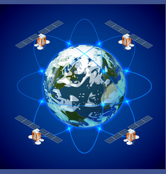 network and satellite data exchange over planet vector image