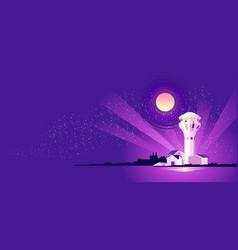 night landscape lighthouse vector image