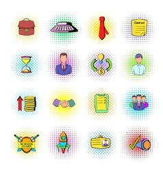 Office and business icons comics style vector image