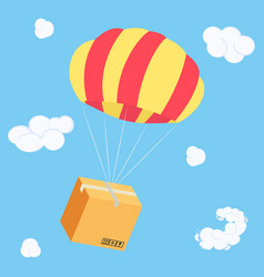 packaging box flying on parachute delivery parcel vector image