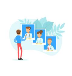 patient choosing top rated doctors man evaluating vector image