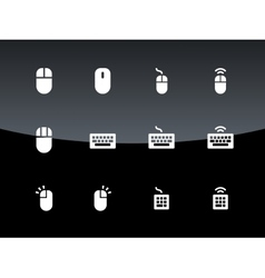 PC mouse and keypad icons on black background vector image