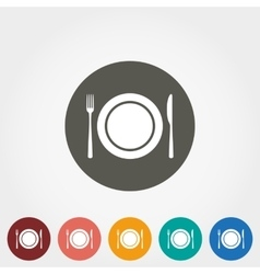 Plate fork and knife icons vector