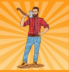 Pop art lumberjack with beard and axe vector