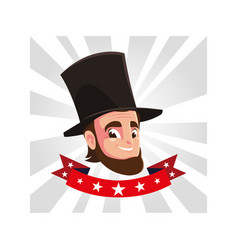 President abraham lincoln with ribbon vector