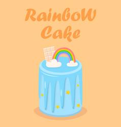 rainbow birthday cake with chocolate glaze star vector image