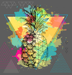 Realistic and polygonal tropic fruit pineapple vector