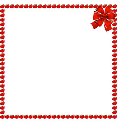 Red apples square photo frame with festive bow vector