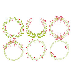 red christmas holy berry wreath frame collection vector image