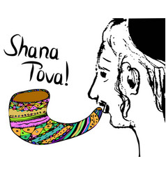 Religious jew hasid blows shofar on rosh hashanah vector