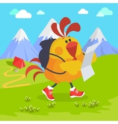 Rooster Bird on Excursion in Mountains vector image