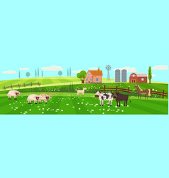 rural spring landscape countryside with farm field vector image