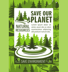 Save planet resources banner for ecology design vector