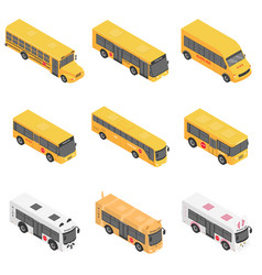 School bus back kids icons set isometric style vector