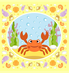 sea background with crab vector image
