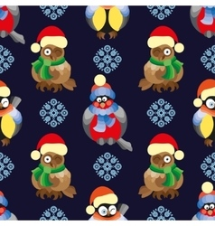 Seamless pattern with birds and in winter vector