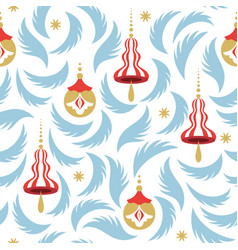 seamless pattern with christmas branshes vector image