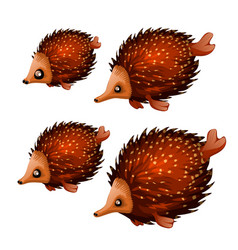 set cute aquatic animals brown color isolated vector image