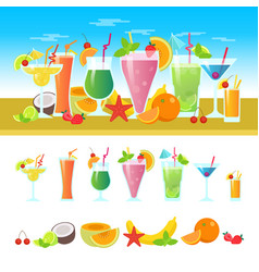set of different cocktails on a table with fruits vector image