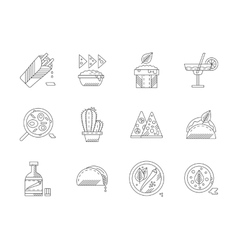Set of linear mexican food icons vector image