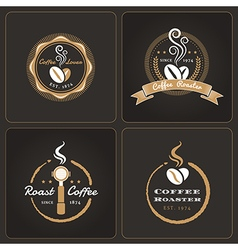 Set of round coffee shop badges and labels vector