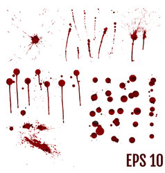 Set of various blood or paint splatters realistic vector