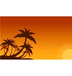 Silhouette of clump palm trees scenery vector