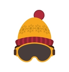 Ski mask and hat icon vector
