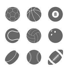 sports balls set silhouettes balls vector image