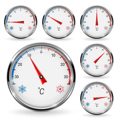 Thermometers round gauge with chrome frame vector