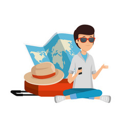 tourist man with paper map and hat vector image