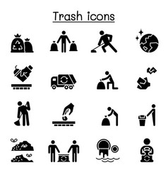 Trash garbage rubbish dump refuse icon set vector