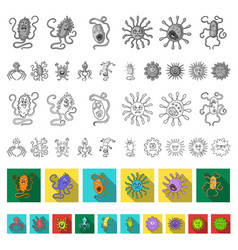 types of funny microbes flat icons in set vector image
