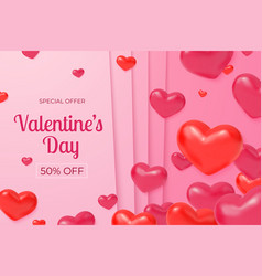 valentines day sale red hearts poster love vector image