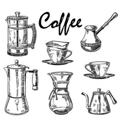 vintage hand drawn coffee set vector image