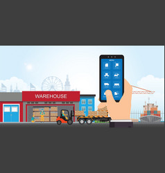 warehousing and storage app on a smartphone with vector image