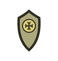 Warrior shield with cross icon flat style vector