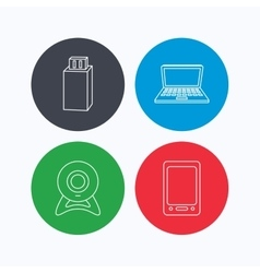 Web camera USB flash and notebook laptop vector image