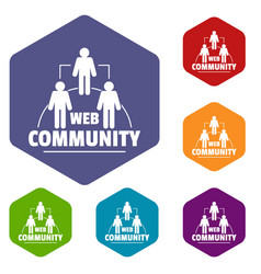 web community icons hexahedron vector image