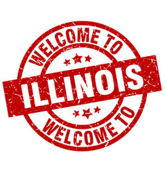 Welcome to illinois red stamp vector