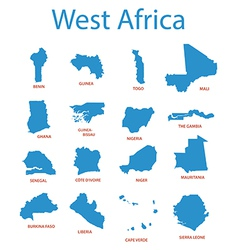 west africa - maps of territories vector image