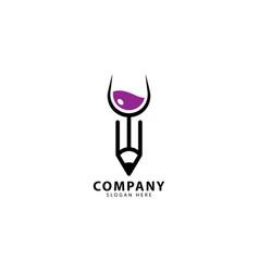 Wine and pencil logo design vector