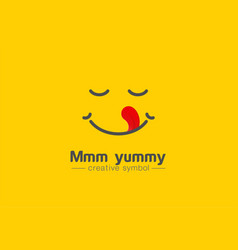 Yummy smile tongue in heart shape creative symbol vector