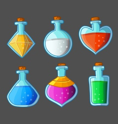 Collection of six magical bottles vector image