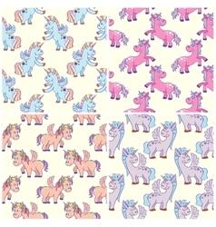 hand drawn unicorns seamless patterns set vector image vector image