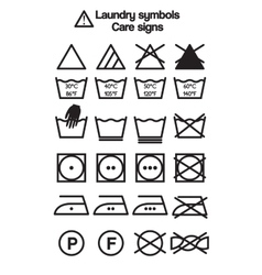 Laundry symbols care signs vector image vector image