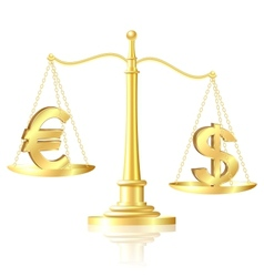 Dollar outweighs Euro on scales vector image