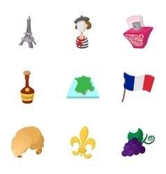 France Republic icons set cartoon style vector image vector image